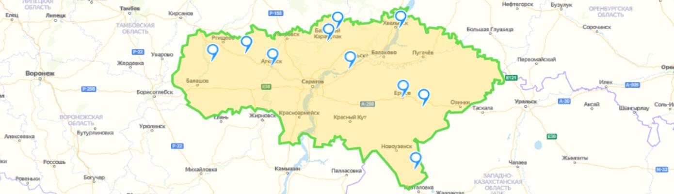 Карта социальных учреждений и организаций Саратовской области